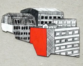 Red rooftops brooch pin