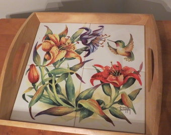 A Beautiful Mosaic Tile Humming Bird Serving Tray