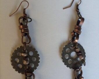 Steampunk Gear Earrings Hand Made Earrings