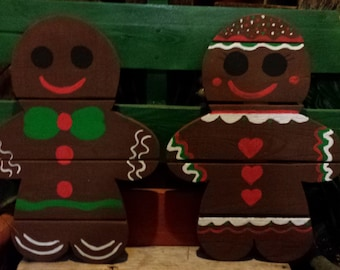 Handmade by Yard Funk Fred and Ginger Bread Man and Woman Christmas Decor/Gift/Art