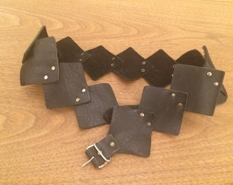 Belt Made Of Riveted Leather Squares