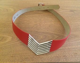 89's Style Red Leather Belt