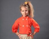 Girls collarless jacket/Toddler girl cropped jacket/Kids double breasted blazer/Puff sleeve Victorian jacket/Girls blazer/Edwardian jacket