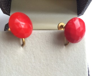 1960's faceted red glass earrings