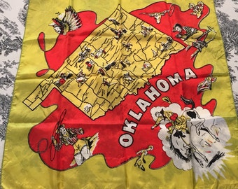 "Oklahoma Scarf 22"" Rayon Western collectible"