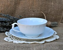 Herbal Tea & Vintage M Z Austria Marked White Teacup with Saucer Gift Set- Specialty Tea Gift