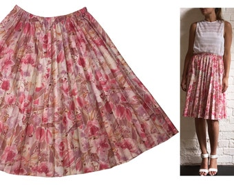 Pleated Pink Floral Knee Length Skirt