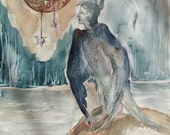 The Bird and The Crescent Moon Original Ink and Watercolour Painting Night Sky Woman Anthro Sphinx Half Human Starry Enchanted Bedroom