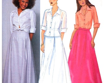 2000 Butterick 6572 Semi Fitted Top with Cuffed Sleeves and Flared Floor Length Skirt, Uncut, Factory Folded, Sewing Pattern Size 12-16