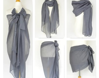 Slate Grey Plain Sarong, Pareo, Beach Cover Up, Resort Wear, Pool Wrap,Holiday Wear,Vacation,Beach Dress, Ladies Sarong,Beach Wrap,Swimwear