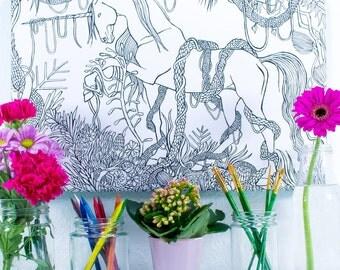 Unicorn Artist Colouring Canvas