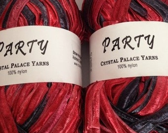 Crystal Palace Party Ribbon Yarn, Color-Black Cherry #8122, Blend-Nylon ribbon, Weight-bulky