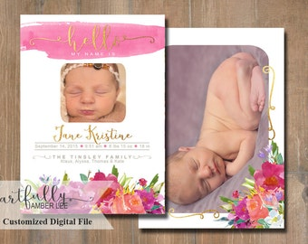 Girl Birth Announcement | DIY Printable | Digital Photo Card | Watercolor Flowers
