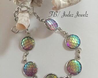 Mermaid Scales Charm Bracelet ~ Rainbow