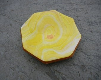 Yellow Marbled Cat Jewelry Dish