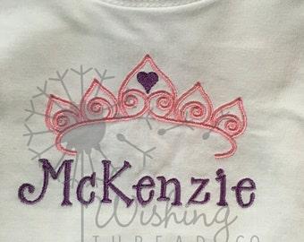 Tiara Embroidery Name Shirt