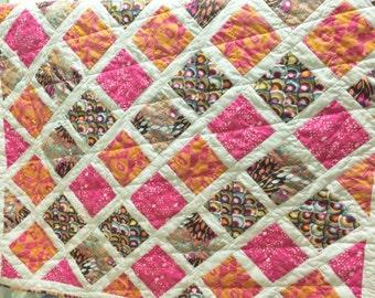 Baby Quilt Modern, Baby Blanket, Pink Baby Quilt, Orange Baby Quilt, Toddler Quilt, Pink and Orange, Baby Quilt Girl, Orange Quilt