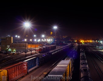 Trains in Minneapolis Wall art print photograph railroad train track Minneapolis Minnesota