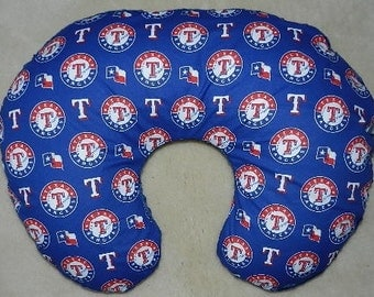 NEW  Texas Rangers  MLB  Boppy Pillow Cover with Navy Minky on Back, Slip Cover, Nursing Pillow Cover, Zipper for easy on and off