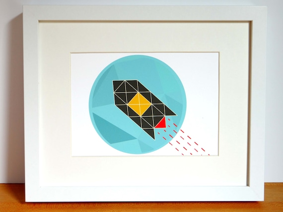 Geometric Rocket Ship Archival Print