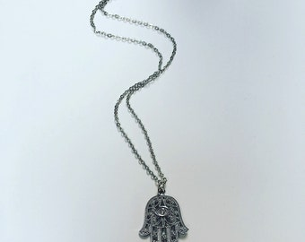 Hamsa Palm Necklace