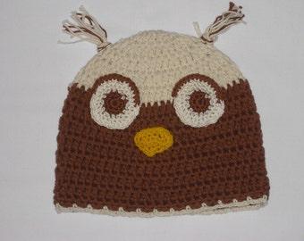 Hat - OWL Hat - crochet beret KU 42-48 cm - handicraft - wool hat - OWL - animal Hat