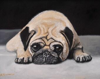 Pug Portrait Oil Painting 10x14, Sweet Pug Dog, Pug Pet Portrait, Dog Painting, Original Pug Painting.coupon code.discount. Art. Dog.