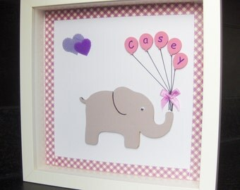 Elephant with balloons, nursery decoration, children's frame, name frame, balloons, elephant nursery, personalised new baby gift, birthday