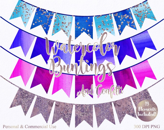 WATERCOLOR BUNTING BANNER Clipart Commercial Use Clipart 19 Watercolor Flag Banner & Rose Gold Confetti Watercolor Party Invitation Clip Art