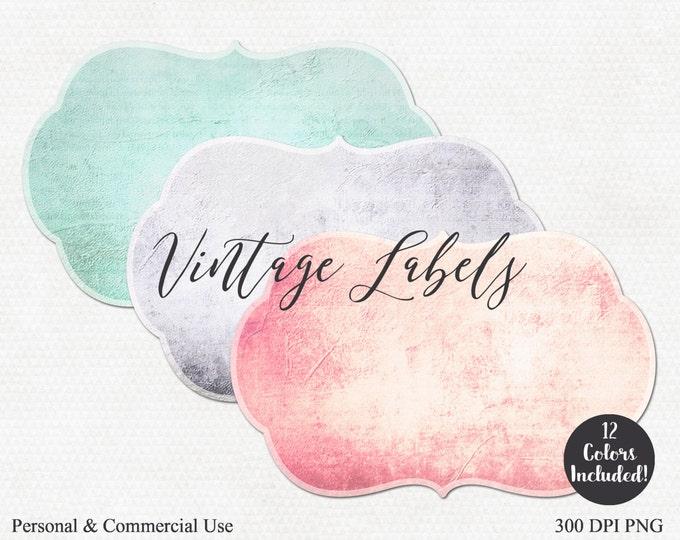 VINTAGE LABELS CLIPART Commercial Use Clip Art 12 Colors Antique Blank Label Vintage Apothecary Label Graphics Mint Peach Blush Label Images