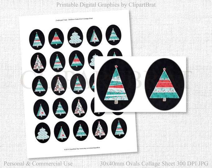 CHALKBOARD CHRISTMAS CLIPART Commercial Use Clipart 30x40mm Ovals Gift Tags Sheet Chalkboard Christmas Trees Digital Collage Sheet