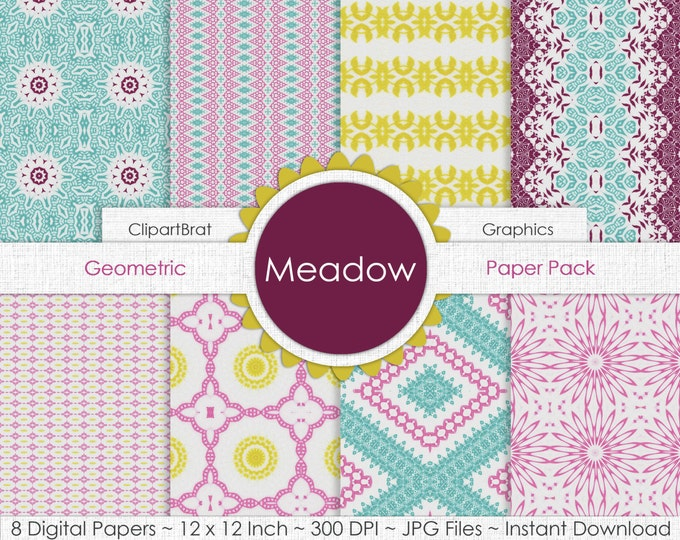 Meadow YELLOW PINK & AQUA Digital Paper Pack Commercial Use Digital Background Paper Floral Chevron Argyle Digital Party Printable Paper