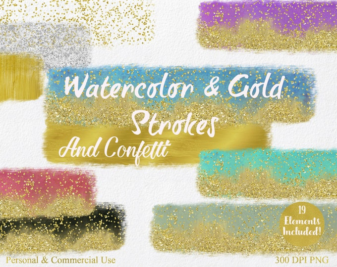 WATERCOLOR & GOLD PAINT Strokes Clipart Commercial Use Clipart 19 Watercolor Brush Rectangle Gold Confetti Watercolor Textures Logo Clip Art