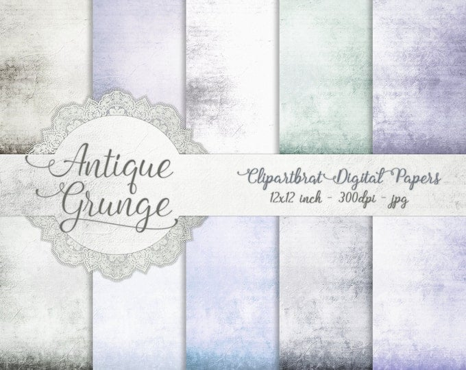 VINTAGE AGED Digital Paper Pack Commercial Use Digital Backgrounds Blue Gray Romantic Antique Distressed Digital Background Textured Papers