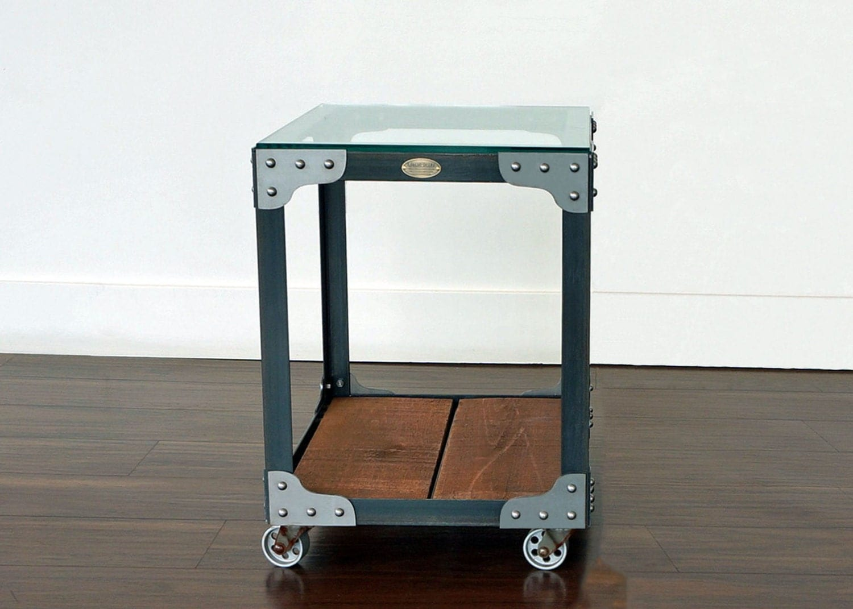 industrial side table tannery tool trolley steel wood. Black Bedroom Furniture Sets. Home Design Ideas