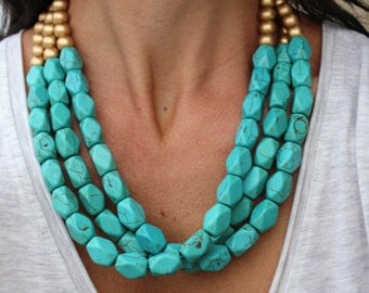LAST ONE - The Joelle Necklace, Turquoise Necklace, Beaded Necklace, Statement Necklace, Turquoise Bead Necklace, Chunky Turquoise Necklace