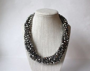 The Radiant Metallic Silver Necklace, Multi Strand Necklace, Black Bead Necklace, Statement Necklace, Wedding Jewelry, Silver Necklace