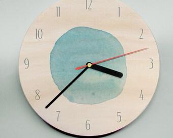 Modern Clock / Wooden Clock / Personalised Clock / Wedding Clock / Watercolour Clock / Circle Clock / Aqua Clock / Mr Wolfe Clock