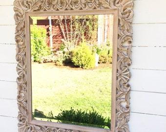 Ornate Wood Carved Mirror, Decorative Bathroom Mirror, Shabby Chic Vintage Style, Nursery Mirror, Bedroom Wall Hanging, Shabby Chic Mirror