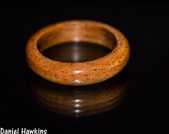 Mahogany Wood Ring -  Mens Womens Custom Hand Carved Wedding Engagement Band Multiple Size African Brown