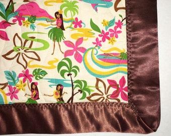 Hawaiian handmade quilted baby blanket