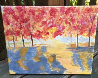 Fall trees, original acrylic painting, 11x14 painting, landscape painting