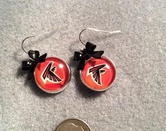 Atlanta Falcons cabochon earrings with Black bow