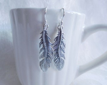 Sterling Silver Feather Beaded  Handmade Earrings