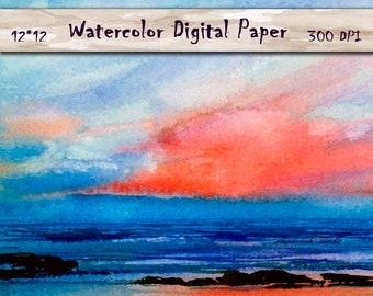 Summer Watercolor Digital Paper, Digital sea landscape watercolor, sunset, Sky, 12x12, Watercolor Digital Background, Commercial Use ok