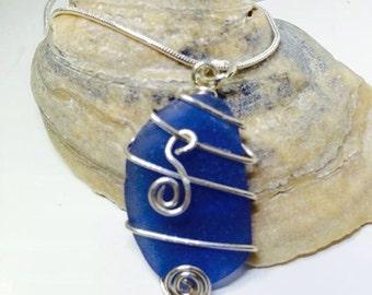 Bright Blue Sea Glass Pendant