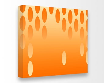 Mid Century Modern Op Art Giclee Gallery Wrapped Canvas Ready To Hang Art Retro Large Loft Art Living Room Orange Nursery Bedroom Decor