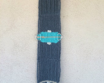 "30"" grey and turquoise 17 strand mohair cinch"