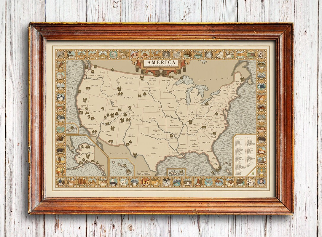 Usa Map Etsy - Us map poster 24x36