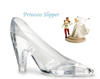 "Cinderella Slipper Large 6"" Clear Plastic Slipper ""Princess"" Shoe Cake Topper Party Favors Engagement Party Cinderella Glass Slipper"